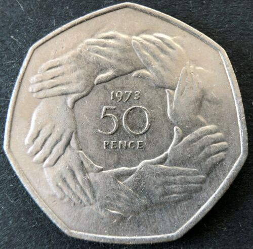 1973 United Kingdom (Great Britain) EEC Accession Commemorative 50 pence coin
