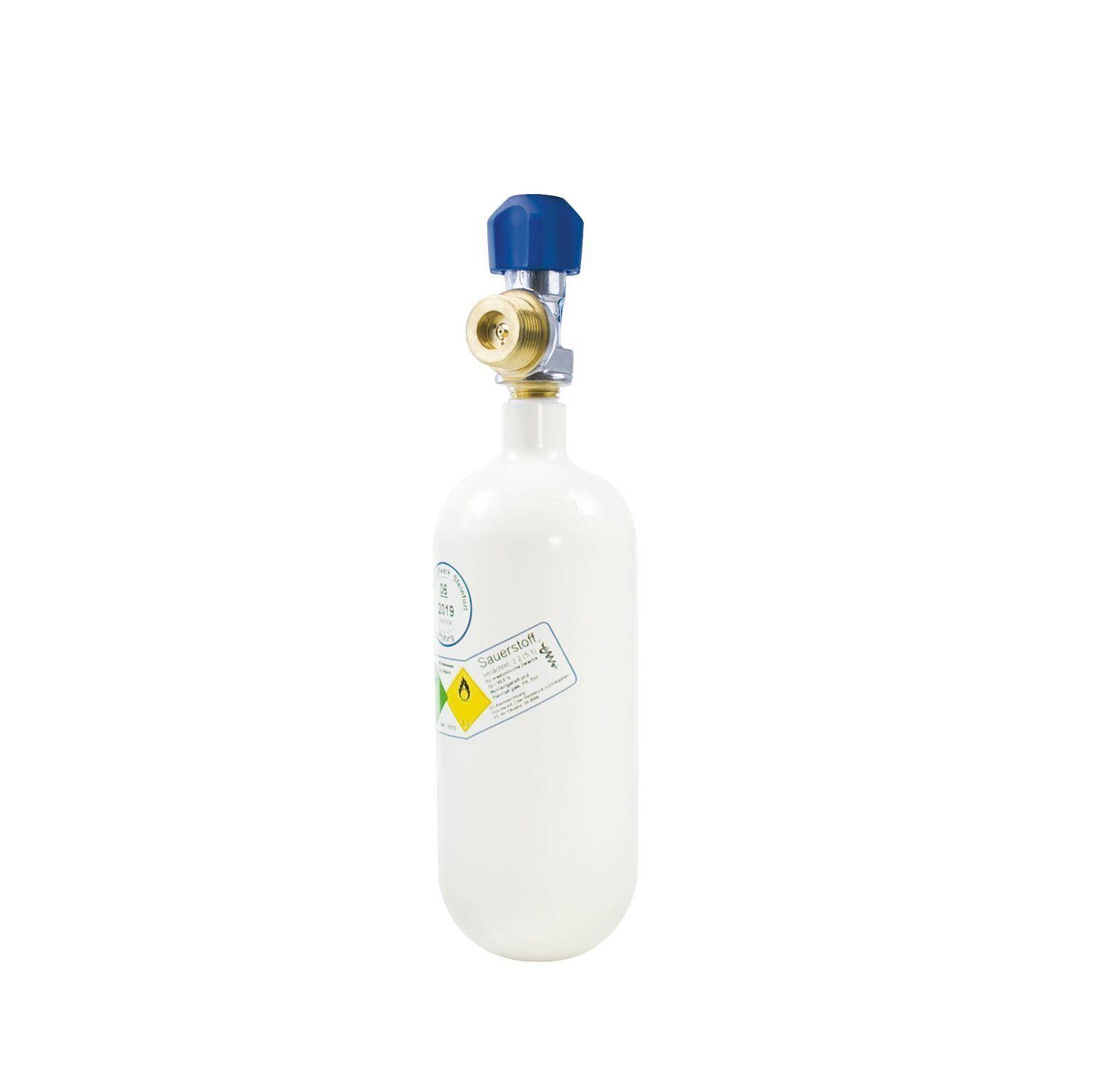 Sauerstoffflasche 0,8 l (Oxygen für Druckminderer Arzt Praxis Taucher Notfall)