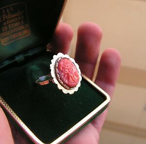 RING Red Pink Momo CORAL GENUINE gold 18k vintage 8 ITALY ORIGINAL Made Italy - Italia - RING Red Pink Momo CORAL GENUINE gold 18k vintage 8 ITALY ORIGINAL Made Italy - Italia