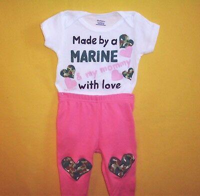 Marine Baby Girl Pants Set, Baby Girl Marine Outfit, Handmade