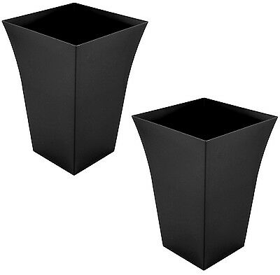 2 x Large Milano Tall Planter Square Plastic Garden Flower Plant Pot Gloss BLACK