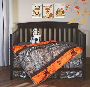Realtree Blaze Orange Camo Crib Set Baby Toddler Bedding Quilt Sheet Skirt