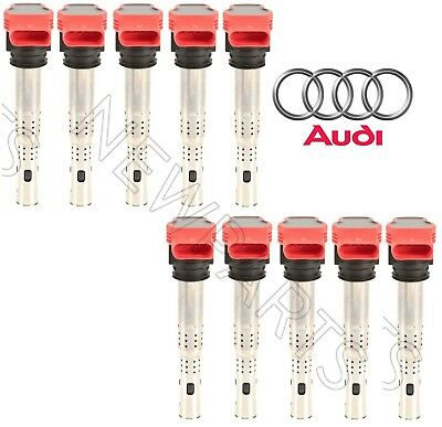 For Audi R8 S6 5.2L V10 Set of 10 Ignition Coils w/ Spark Plug Connector Genuine