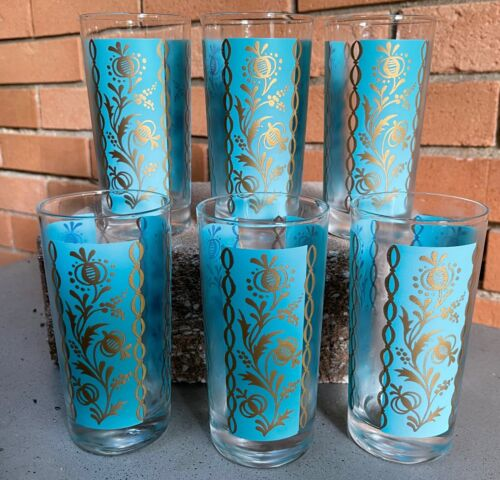 Set 6 Vintage 50s 60s Turquoise Gold Floral Glasses Tumblers Mid Century Modern