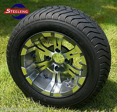 "GOLF CART 12"" GUNMETAL VAMPIRE WHEELS and 215/50-12 COMFORT RIDE DOT TIRES(4)"