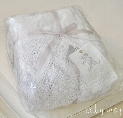 Rachel Ashwell Shabby Chic Couture White Cluny Lace Linen Bedskirt CAL KING $208