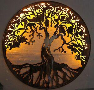 tree of life wall metal 24 lit with led lights art decor. Black Bedroom Furniture Sets. Home Design Ideas