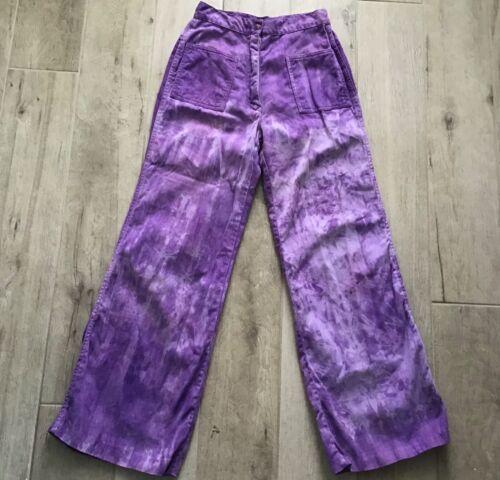 Vintage 1970's Purple Tie Dye Pants Jeans Women's Wide Leg High Waist
