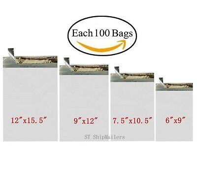 400 Combo Poly Mailers Bags Each 100 6x9 7.5x10.5 9x12 12x15.5 - St Shipmailers