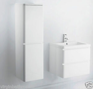600 mm wall hung mdf white gloss bathroom vanity unit and optional