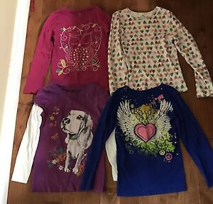 8 long sleeved t-shirts for girl size 7-8
