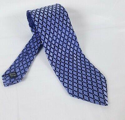 IKE BEHAR Bright Blue Diamond Pattern 100% SILK Men's Wide Neck Tie 4