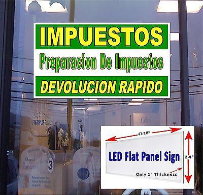 Led Sign Impuestos Income Tax Service Spanish 48x24 Neon Banner Alternative