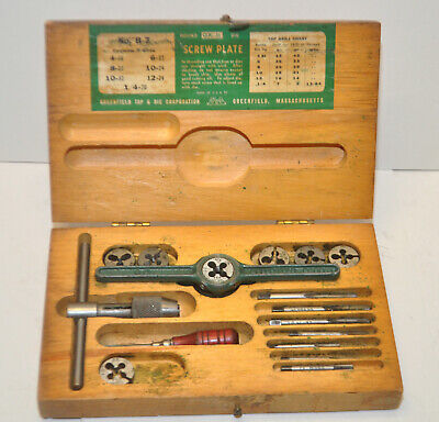 Gtd Ok Jr Screw Plate Tap Die Set Greenfield B-7 Machinist Tool In Wood Box
