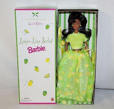 """1998 Avon Exclusive """"Lemon-Lime Sorbet Barbie"""" African American IOB #20318"""