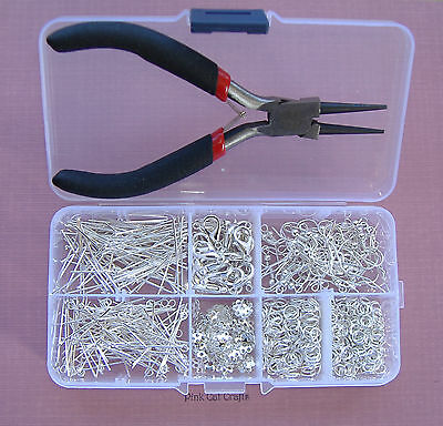 Jewellery Making Starter Kit with Pliers & Storage Box Silver Plated