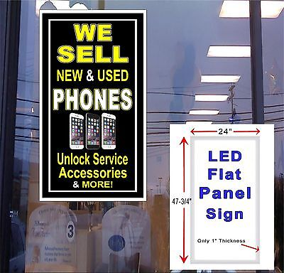 Phones We Sell New And Used Led Window Sign 48x24 Vertical Flat Panel Light Box