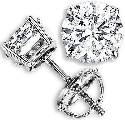 1.03 CT G-H SI GENUINE ROUND DIAMOND STUD EARRINGS 14K WHITE GOLD 100% NATURAL