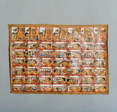 FINE OLD ANTIQUE BALINESE KAMASAN PAINTING TAPESTRY TEXTILE