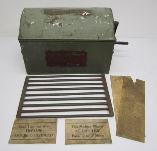 Antique Vtg Happy Home Steam Washer Metal Washing Machine Stovetop W/ Directions