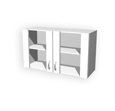 Glashängeschrank UNNA Küchen-Hängeschrank Oberschrank Küchenschrank 100 cm weiss