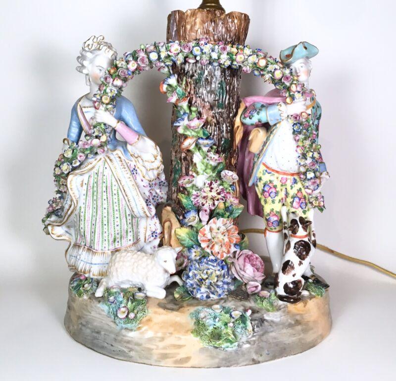 Rare Early Meissen Porcelain Tree Spill Vase w Figures & Flowers 1756-80 Germany