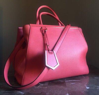FENDI Pink Leather MEDIUM 2JOURS Elite Tote Satchel Hand Shoulder Bag EXCELLENT