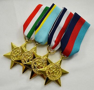 4x 24ct Gold WW2 Medals, Ribbons 1939-1945, Air Crew, Italy, France/Germany Star