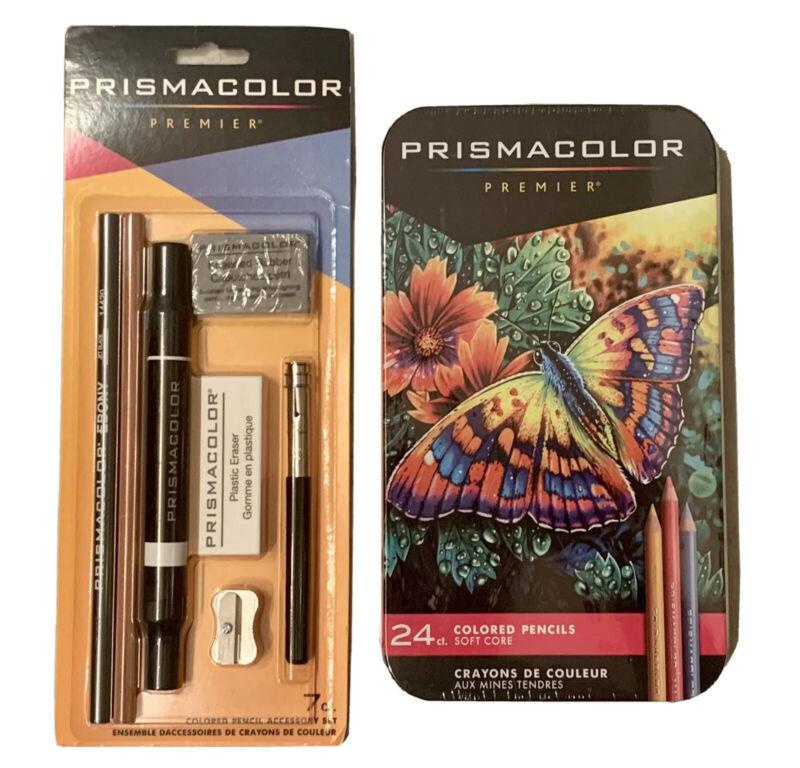 Prismacolor Premier Colored Pencils Soft Core 24 Ct. & 7 Piece Accessory Set