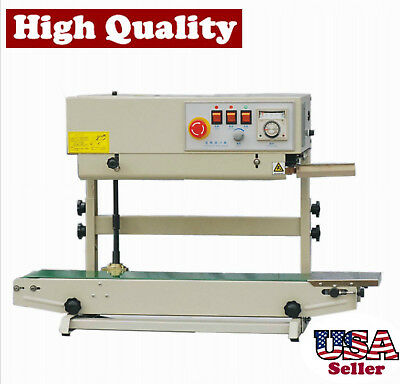 Table Top Stainless Steel Vertical Band Sealer W Emboss Printer Continuous Seal