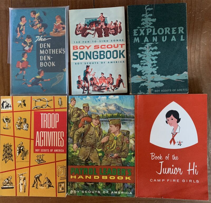 Lot of 6 Vintage Girl and Boy Scout Books, 1950s and 1960s VG condition