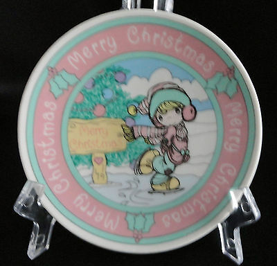 Enesco Precious Moments Boy Skating Merry Christmas Porcelain Miniature Plate