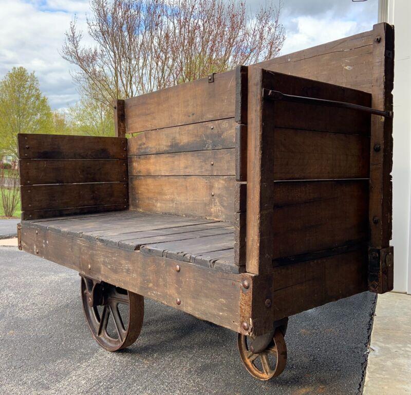 Huge Railroad Cart, Antique Original Industrial Cart, Steampunk, Heavy & Solid