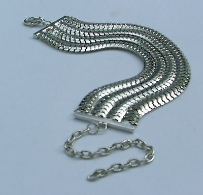 FOUR STRAND SILVER PLATED FLAT CHAIN BRACELET