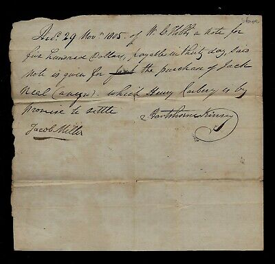 1805 Slave Purchase Document - Name & Price Given - Maryland or New Jersey
