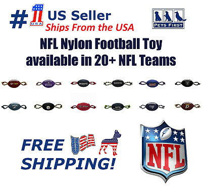 NFL Nylon Football Pet Toy - Licensed, Heavy-duty Tough Dog Rope & Squeaker Toy!