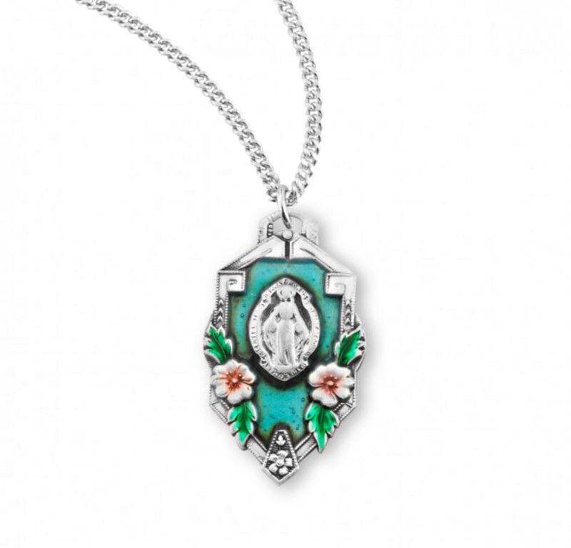 .925 Silver Antique Enamel Floral Frame Miraculous Medal Necklace, 20 In N.G.