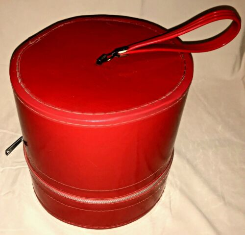 Vintage Wig Hat Box Travel Case Red Round Zipper Luggage with Styrofoam Head