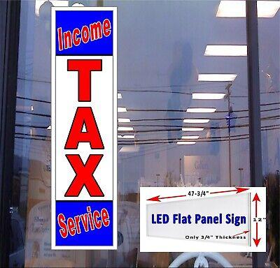 Income Tax Service Led Illuminated Window Sign 48x12 Flat Panel Led