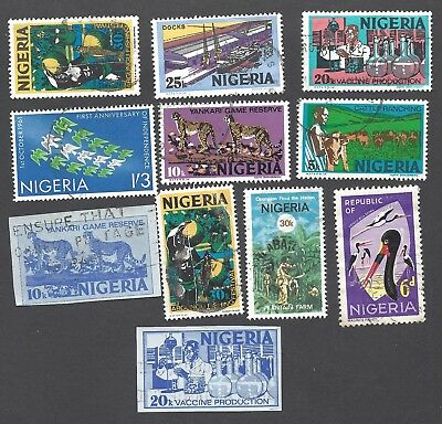 NIGERIA - ELEVEN DIFFERENT USED STAMPS
