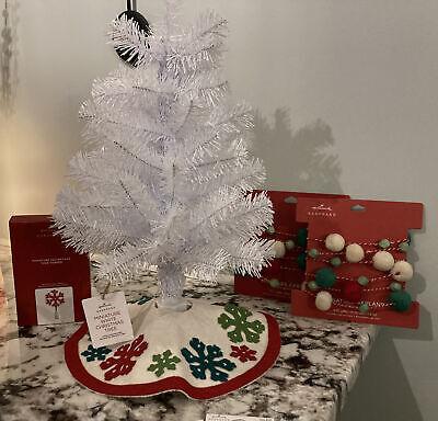 Hallmark 2020 MINIATURE Snowflake Tree Skirt Garland Tree Topper Ornament Hooks