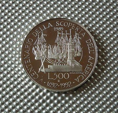 Italien 500 Lira 1989 Hafenansicht von Genua Silber Gedenkmünze PP