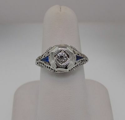 18K White Gold Vintage Filigree Cubic Zirconia And Synthetic Sapphire Ring