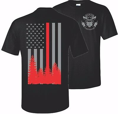 Wildland Thin Red Line Firefighter Fire Department T Shirt Tee Usa Hero Flag Us