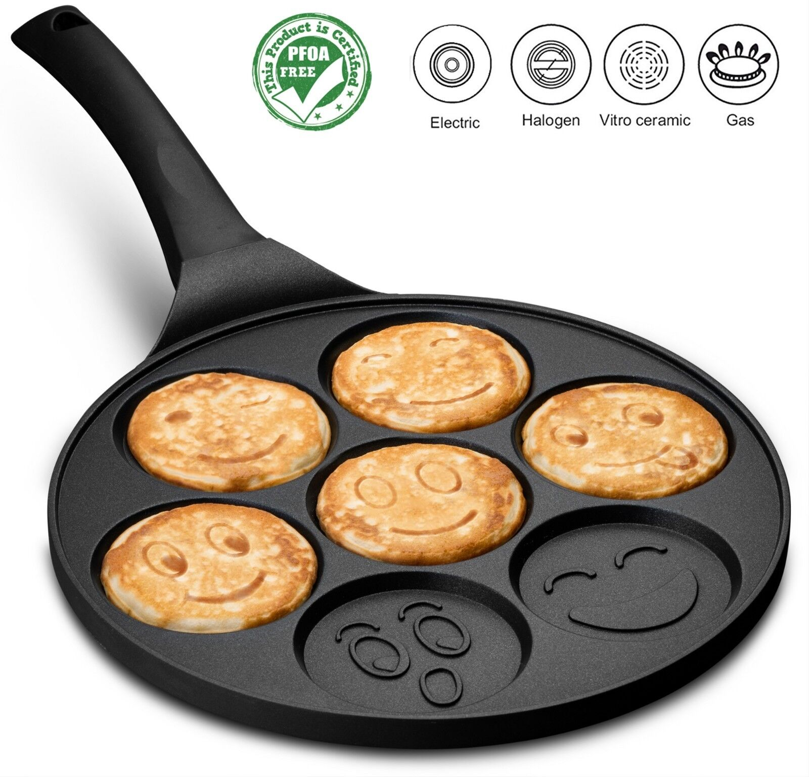 Gourmia GPA9515 Blini Pan With Induction Bottom Nonstick Sil