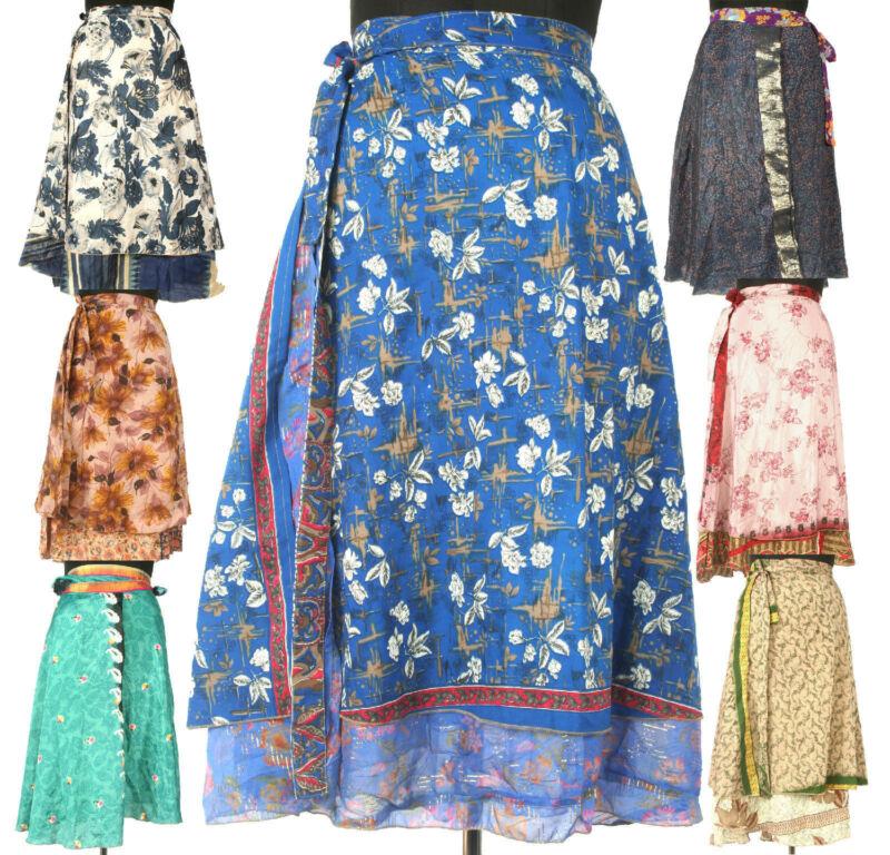 5 Knee Length Vintage Silk Sari Magic wrap skirts dress Wholesale lot India SW1