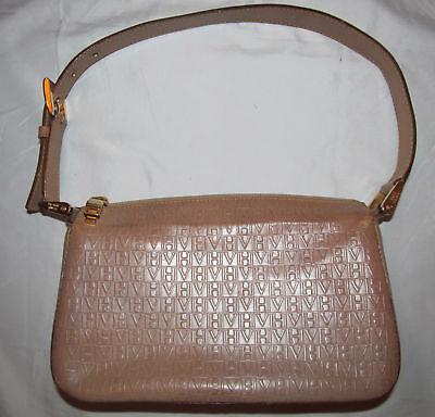 vintage VICTOR HUGO VH embossed polished tan leather shoulder bag ***