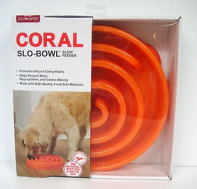 Dog Food Bowl Dog Games Slo-Bowl Feeder Orange Natural Way To Eat New in Box