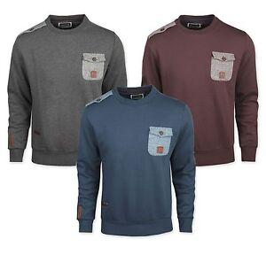 New-Kangol-Mens-Plain-Fashion-Sweatshirt-Jumper-Grey-Denim-Blue-BurgundyTop