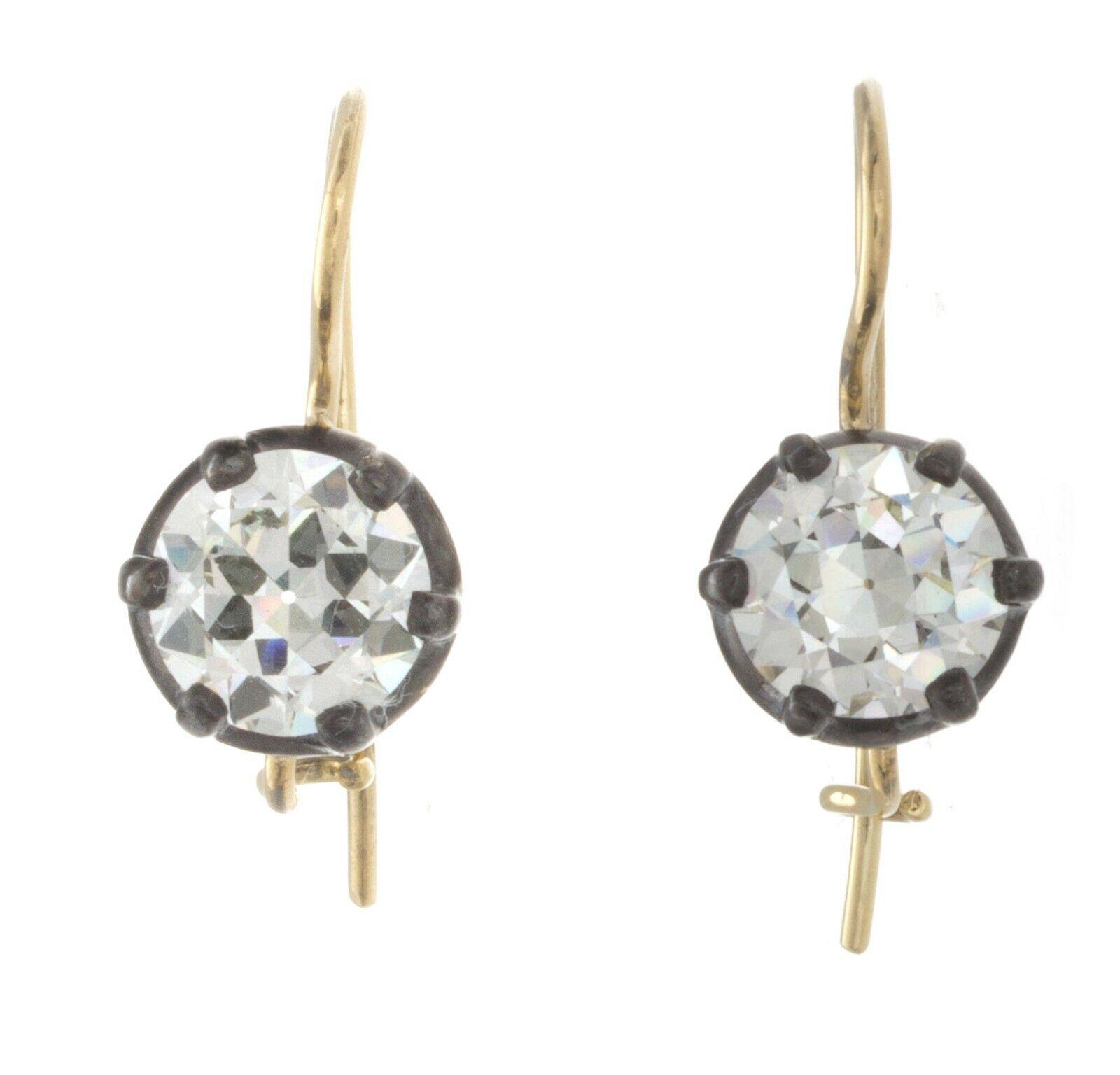 4.11ct ttw GIA Certfied Old European Cut Antique Diamond Earrings